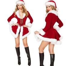 Костюм для взрослых Санта Клауса, женское сексуальное рождественское платье, костюм красного цвета, Рождественская одежда для ночного клуба, рождественское карнавальное платье, новинка