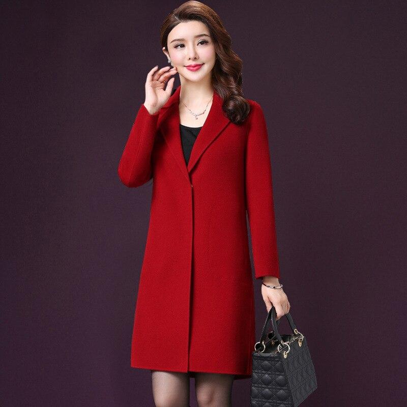 Femmes Lady Manteau gris down Mélange Bouton Long Slim Survêtement Caramel Veste Colour Et Turn rouge Couverte Laine Office Hiver Col FqBEdEw