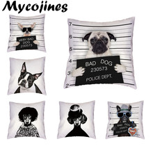 Dropshipping Supplier Cushion Cover Realistic Pug Schnauzer Poor Dog Print Bad 17 Inch Throw Pillow Case Home Couch Decorate