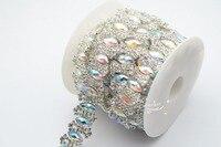 1 Metr kostium kryształ rhinestone aplikacja wykończenia srebrny A2242