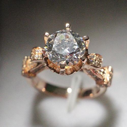 Never Fade Rose Gold Ring Excellent Precious Design 8 0mm Sona Diamond 2ct Engagement Female