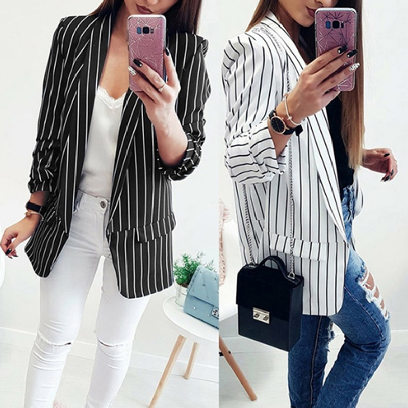 2019 Fashion Sexy Summer Long Sleeve Striped Suits Woman's Black White Striped Outwear Casual Slim Fit Blazers Office Lady Coat