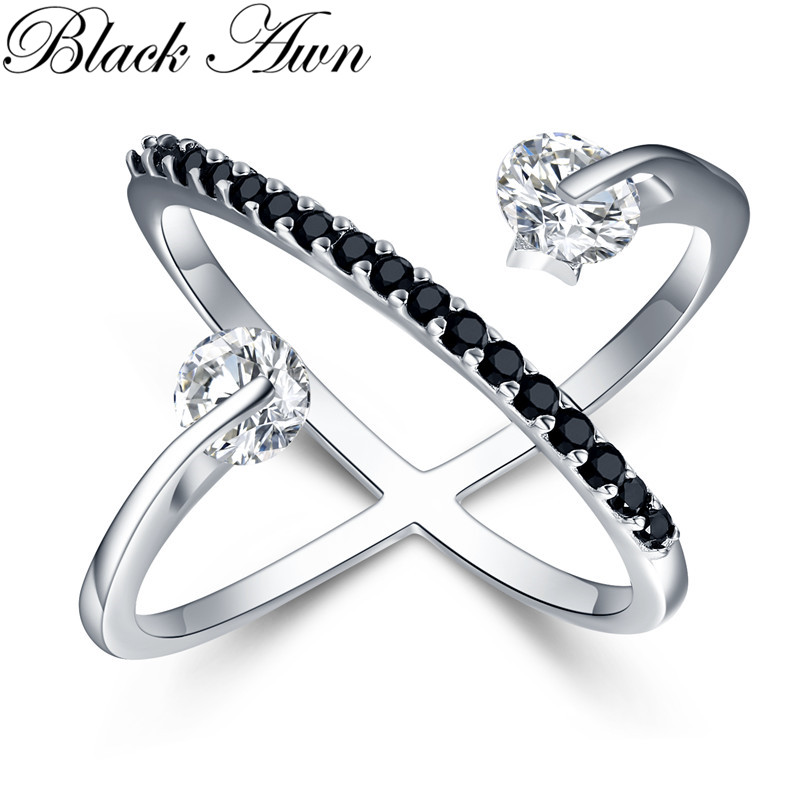 2019 New Romantic 925 Sterling Silver Fine Jewelry Engagement Black Spinel Engagement  Ring For Women Anillos Mujer G044