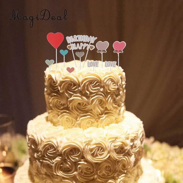 Online Shop Happy Birthday Cupcake Topper Love Heart Cake Pick Stick