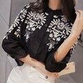 2016 Del Collar Del Soporte de Impresión de Algodón y Lino Bordado Camisas de Las Mujeres Blusas y Camisas de Manga Larga Blanco y Negro