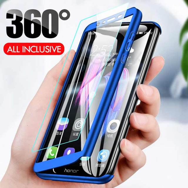 Luxury 360 Full Cover Phone Case on the For Huawei Honor 9 9 Lite 8X Max 7A 7C Pro Tempered glass Protective Cover 7A 9Lite Case