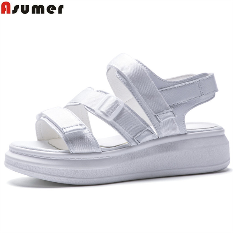 ASUMER 2018 fashion summer new shoes woman big size 32-43 black white casual comfortable sandals women flat platform women s shoes 2017 summer new fashion footwear women s air network flat shoes breathable comfortable casual shoes jdt103