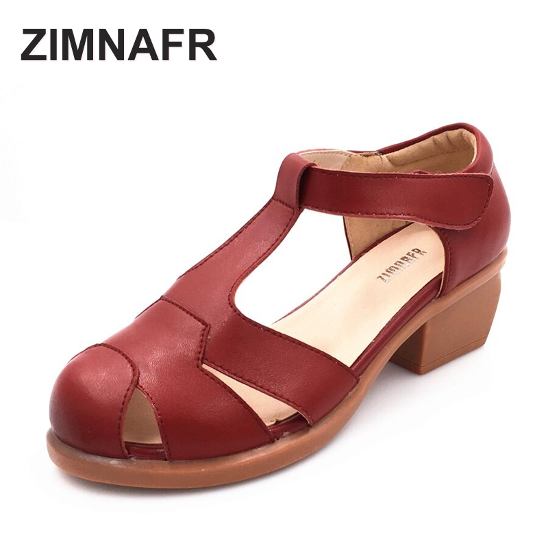 Female Sandals Comfortable High-Heel Thick Genuine-Leather Non-Slip Casual Hollow Plus-Size