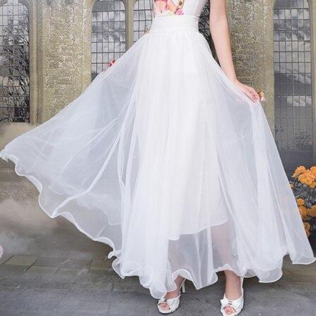 Bleu 2016 romantique en plage mousseline jupe longue de maxi pleine la taille jupe grande femme nouvelle blanche plus pour jupe bohème soie pour femmes qpqgfxrw
