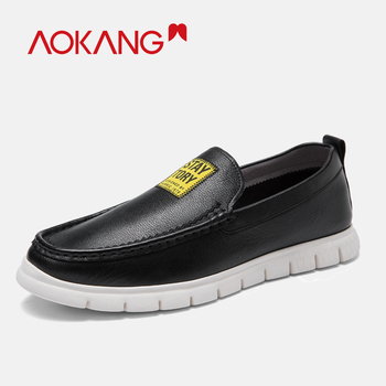 AOKANG 2019 Men Loafers  Genuine Leather Comfortable Breathable Slip On Casual Shoes High Quality Fashion Flats men shoes