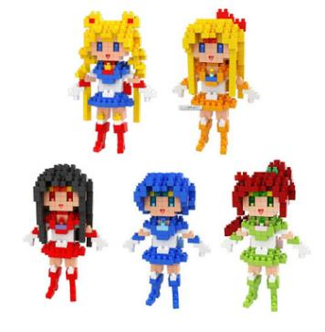 Mini Blocks Building Girl Anime Cartoon Action Figures Character Enlighten Brick Plastic Assembly Toys Figurine DIY