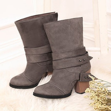 Women Boots Fashion round Toe Women winter Boots Comfortable Square Heel Flock Shoes Women Belt decoration Mid calf Martin Boots