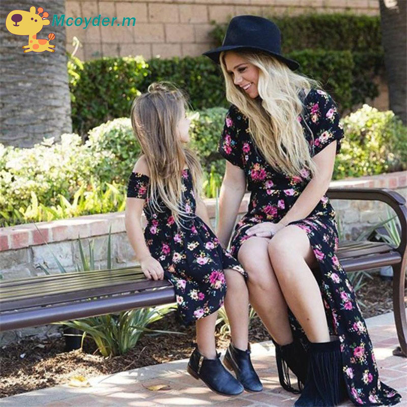 b9f4abf939f Family Matching Outfits Mother and Daughter Vintage Floral Dresses Baby  Girls Dress Kids And Women Summer Dress Family Look-in Matching Family  Outfits from ...