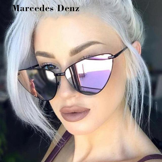 b628ad0122 New Ladies Fashion Mirror Cat Eye Sunglasses UV400 Women Vintage Wrap Metal  Frame Clear Lenses Sun Glasses For Female 2018
