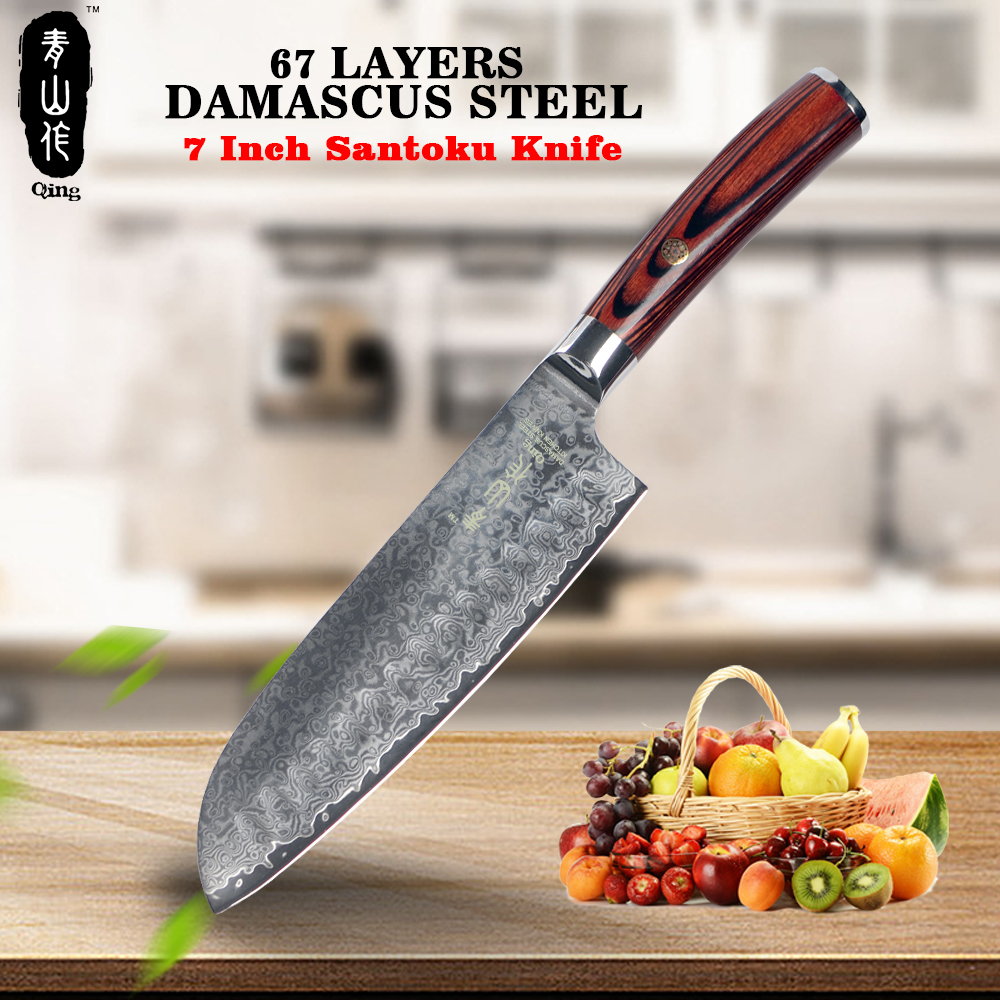 QING Damascus Pattern Kitchen Knife 7 inch Santoku Knife Professional VG10 Damascus Steel Knife Multifunction Damascu