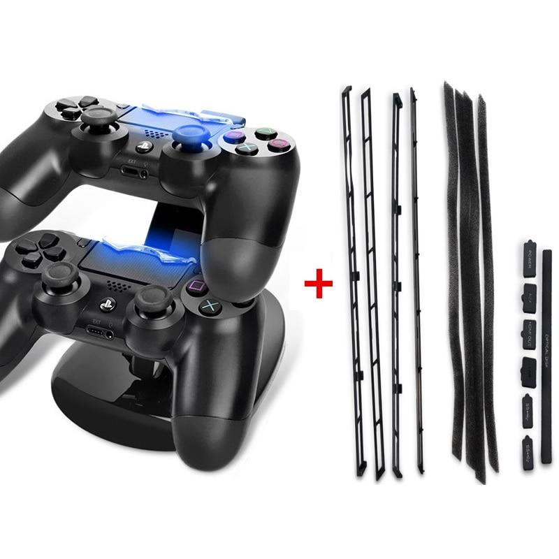 PS4 슬림 DIY 먼지 방지 스토퍼 팩 방진 키트 + LED 듀얼 USB 충전 도크 스테이션 스탠드 충전기 플레이 스테이션 4 슬림 P4S에 대 한