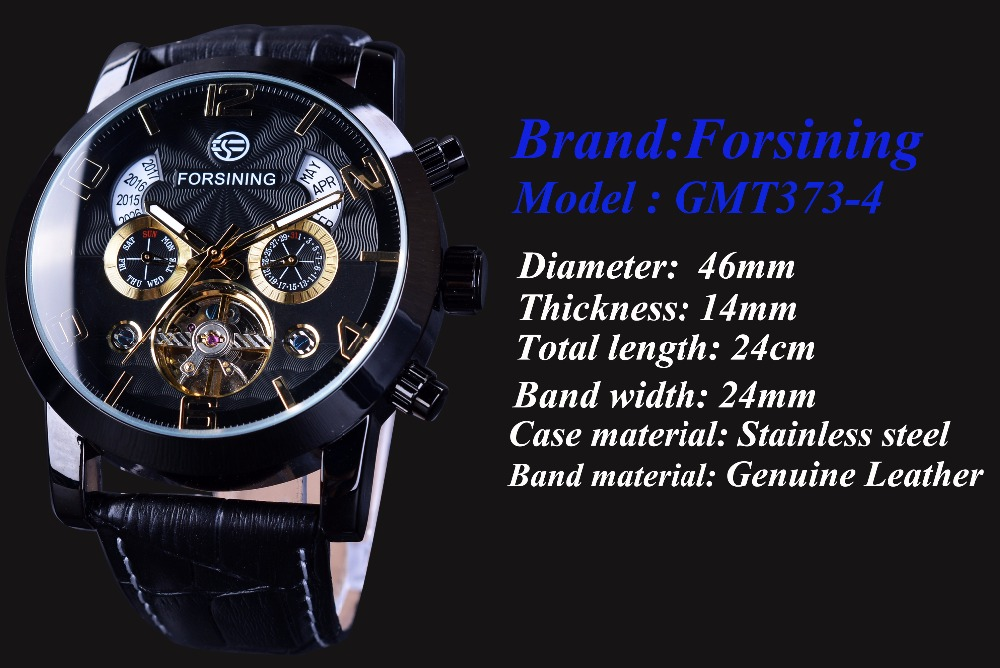 Forsining Tourbillion Fashion Wave Reloj de oro negro Pantalla - Relojes para hombres - foto 3
