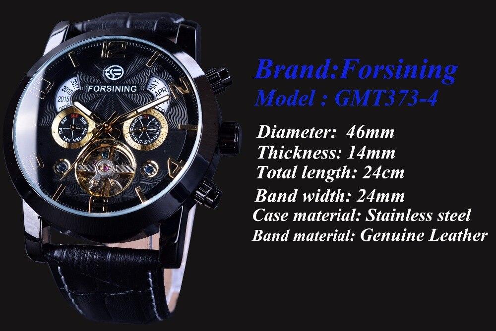 Forsining Tourbillion mode vague noir doré horloge Multi fonction affichage hommes automatique mécanique montres Top marque de luxe - 3
