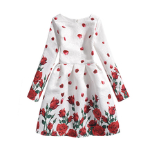 Long Sleeve Princess Teenage Girl Dress Rose Floral Clothes Girl Party Wear Costume Girl Kids Dress Children's Clothing 12 Years(China)