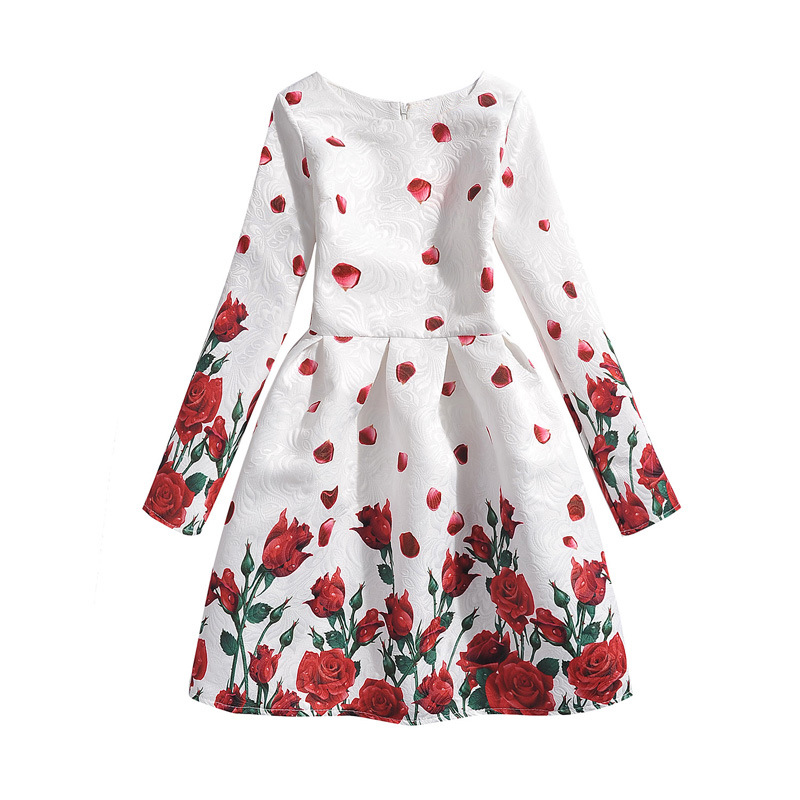 Long Sleeve Princess Teenage Girl Dress Rose Floral Clothes Girl Party Wear Costume Girl Kids Dress Children's Clothing 12 Years