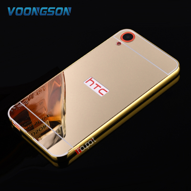 For HTC Desire 820 826 816 626 HTC One M8 M9 M10 A9 Luxury Gold Plating Armor Aluminum Metal Frame + Mirror Acrylic Case Cover