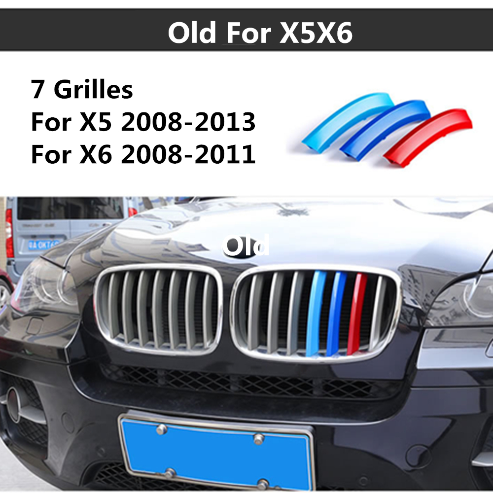 For BMW X6 E71 2008-2011 X5 2008-2013 3 colors 3D Styling Front Grille Trim Strips motorsport Grill Cover Decoration Stickers недорого