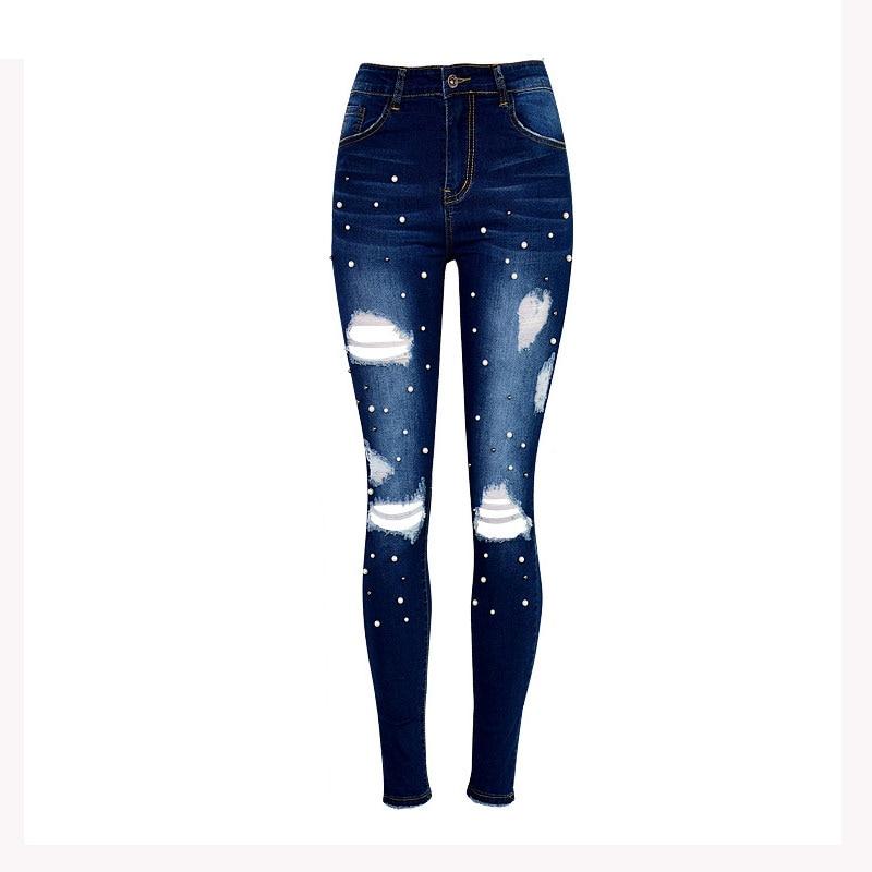 Dark Blue Women Jeans Female Streetwear Pocket Casual Hole Summer Denim Pencil Pants Women Button Embroidered Flares High Waist