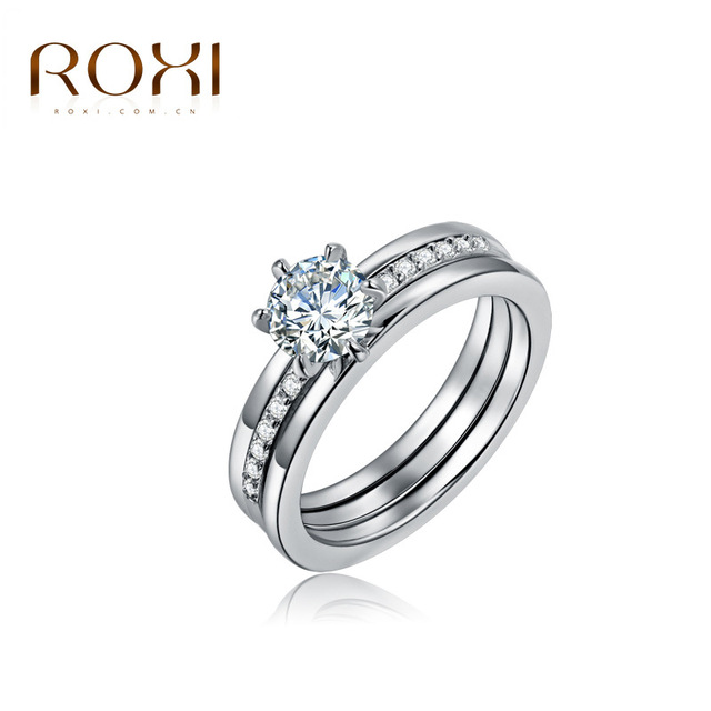 ROXI Charm Lovers Ring Set Bijoux Femme Fashion Jewelry Bijoux Silver Zircon Eng