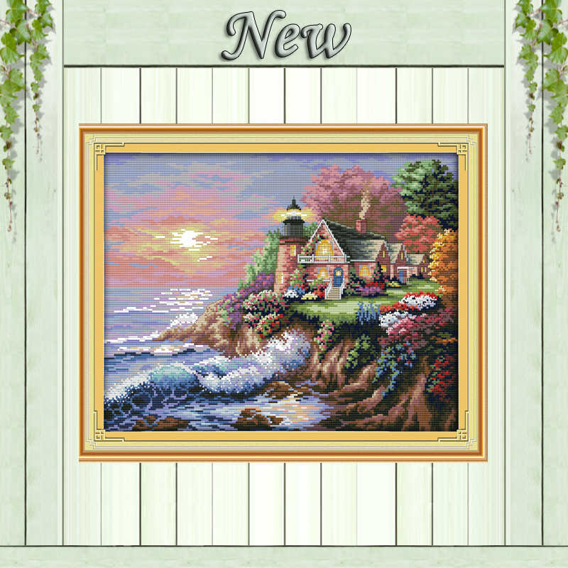 The seaside lighthouse scenery paintings counted printed on canvas DMC 14CT 11CT DIY Cross Stitch Embroider kits Needlework Sets