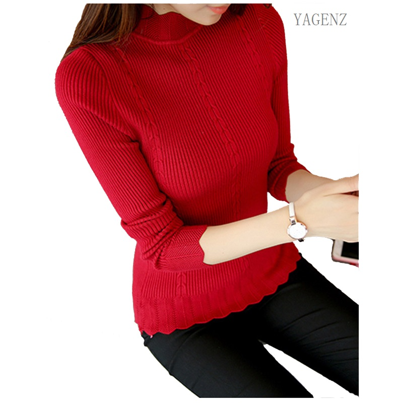 Warm Sweater Pullovers Turtleneck Slim Long-Sleeve Winter Women Fashion 6colors Casual