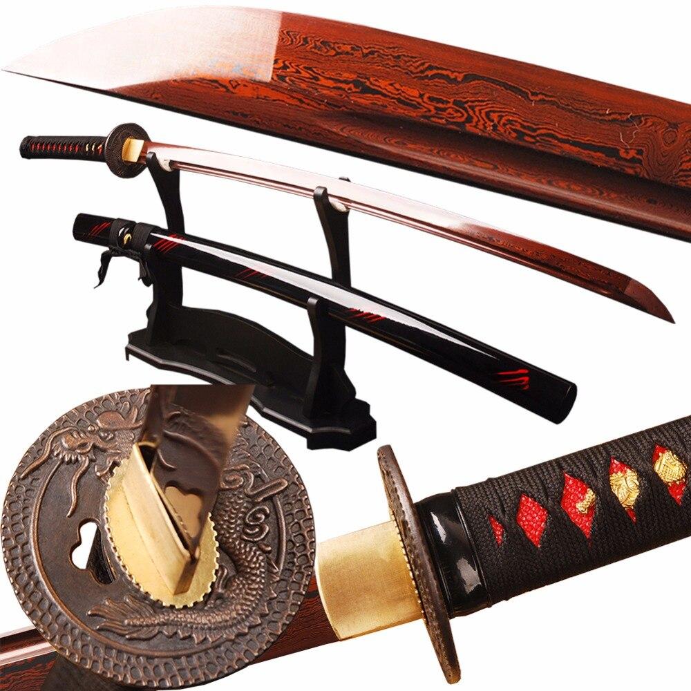 SJ Épée de Samouraï Rouge Damas Foled Lame En Acier Japonais Katana Épée Bataille Prêt Espada Pratique Couteau Tranchant Samouraï Cosplay