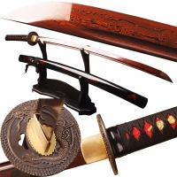 SJ Samurai Sword Red Damascus Foled Steel Blade Japanese Katana Sword Battle Ready Espada Practical Sharp Knife Samurai Cosplay