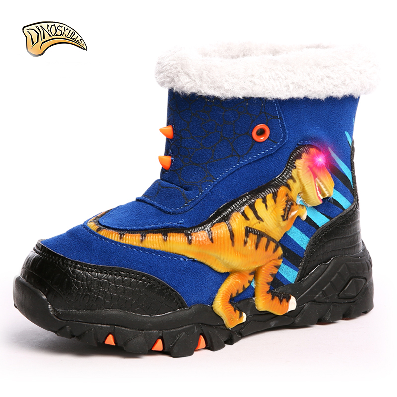 Dinoskulls kids warm boots lights for boys led boots luminous 2018 big dinosaur boots warm shoes for children snowshoes 27-34#