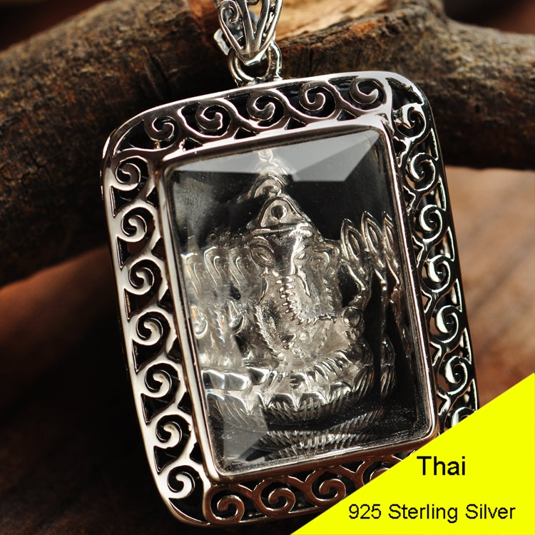 925 Sterling Silver Retro Ganesha Necklace Pendant Men & Women Thai Silver Fine Jewelry Gift CH029949 925 sterling silver retro garnet vajry pestle necklace pendant men thai silver fine jewelry gift ch021420