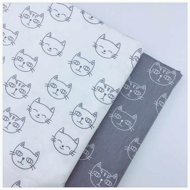 흰색 회색 고양이 목화 패브릭 패치 워크 만화 티슈 천으로 수제 diy 퀼트 재봉 아기 및 어린이 시트 드레스 소재