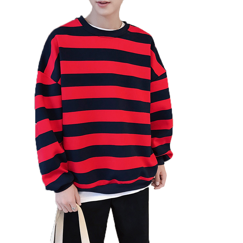 Men Striped Sweatshirts 2019 Spring Autumn Fashion Mens Hoodies Male Warm Fleece Coat Men Brand Hip Hop Hoodie Sweatshirts S-XXL