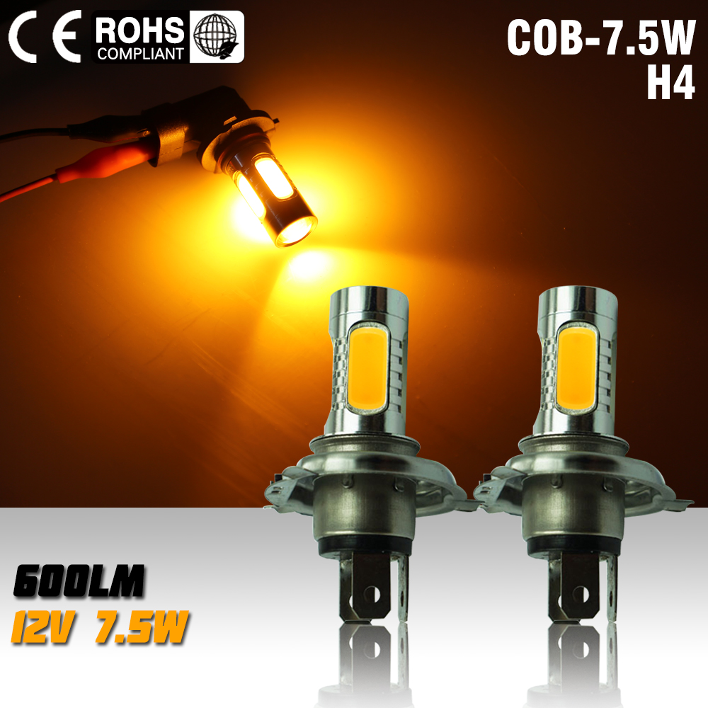 2pcs led h4 7.5w high power led bulb LED Turn Brake Stop Signal Tail Fog Bulb Light Lamp led bulb fog light yellow