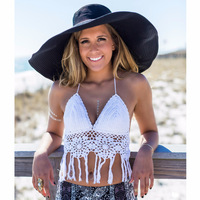 Shermie Crochet Summer Crop Tops Handmade Hollow Out White Solid Tassel Tank Top Bustier Cropped Sexy Top feminino blusa
