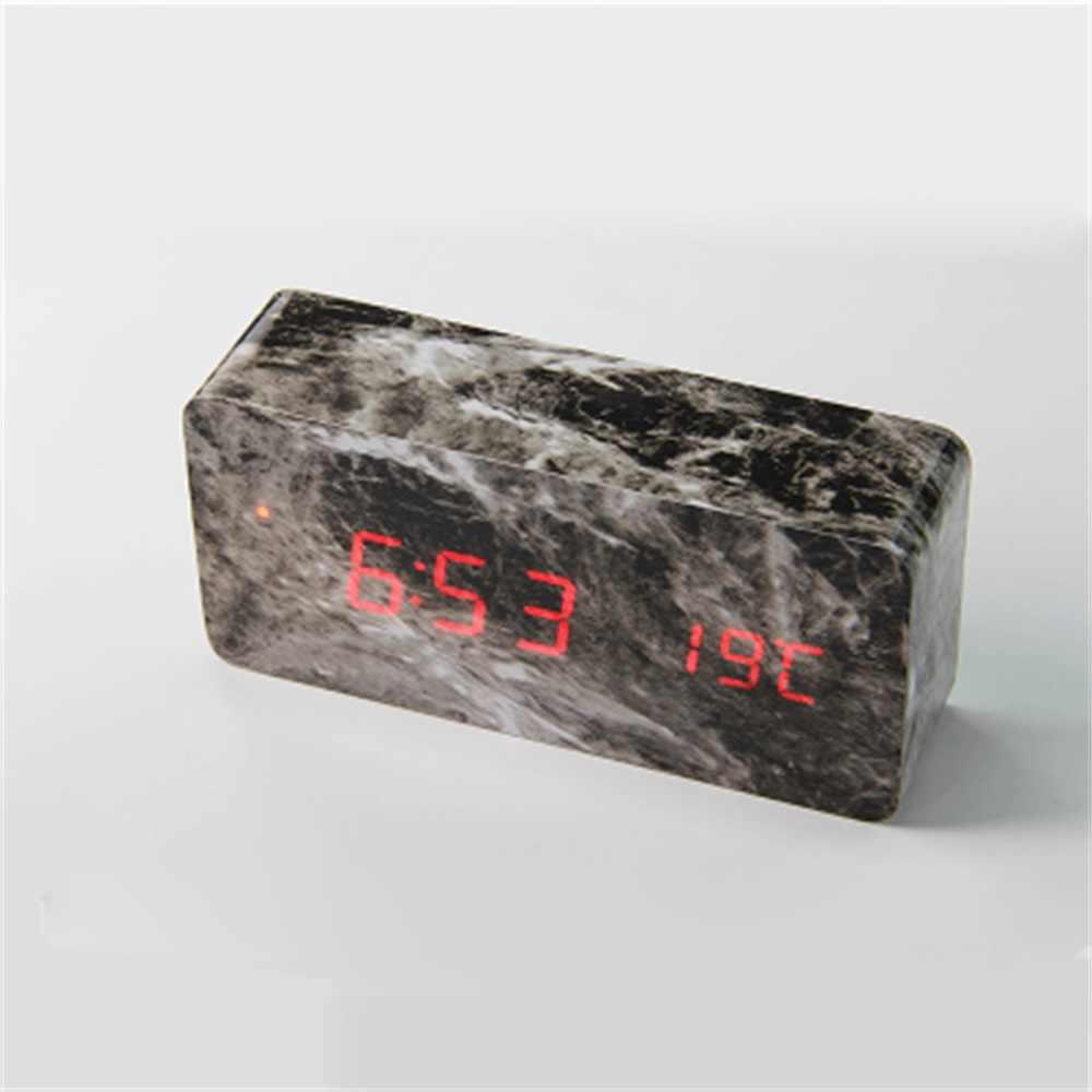 Деревянный цифровой будильник куб мраморный деревянный Настольный будильник светодиодный для спальни Звуковое управление электронные настольные часы домашний декор