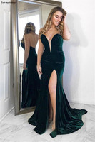 Chic Sweetheart Dark Green Velvet Mermaid Evening Dresses Bodice Backless Sleeveless Special Occasion Gowns With Side Slit Gala