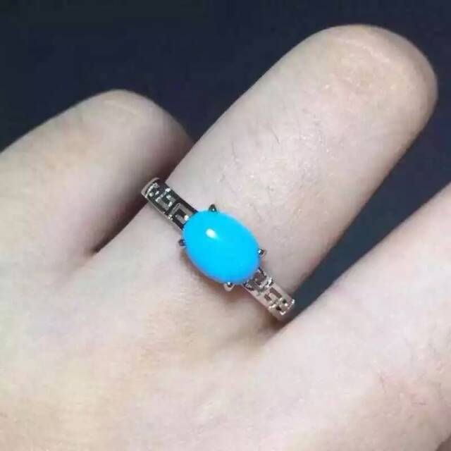 Natural green turquoise gem Ring Natural gemstone Ring S925 sterling silver trendy simple round Hollow women party gift Jewelry trendy fuax turquoise carved rounded rechtangle ring