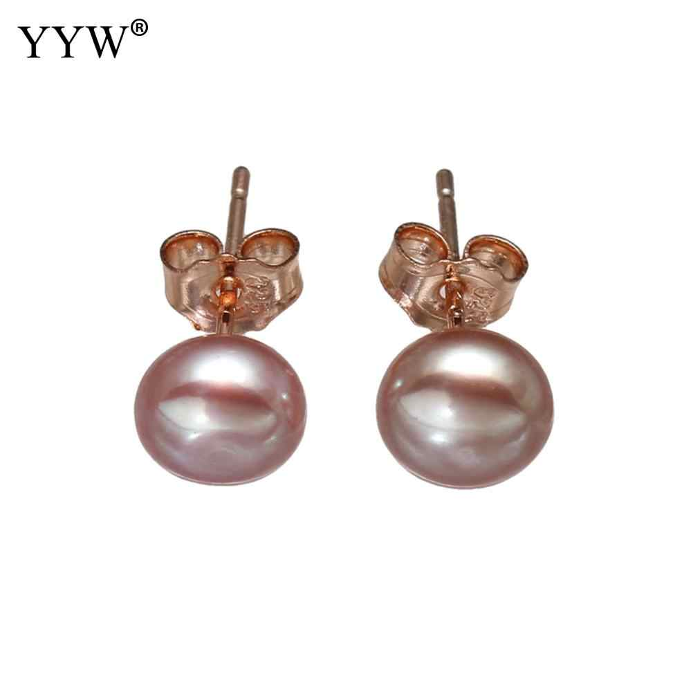 34b651891 ... YYW Women's Jewelry Rose Gold-color Natural Real Freshwater Pearl  Earrings with Gifts Box 7 ...