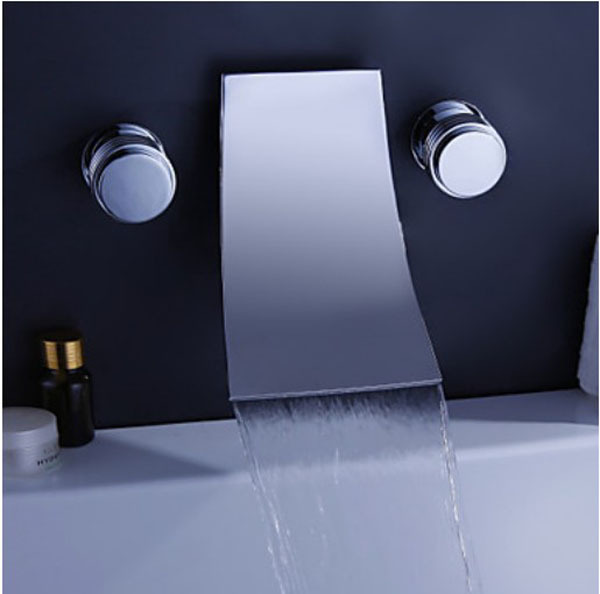 Chrome Finish Waterfall Widespread Contemporary Bathtub Faucet Wall ...