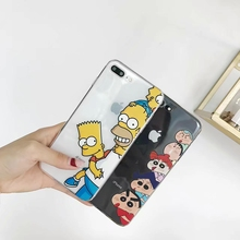 The Simpson TPU Soft Case For iPhone Xs MAX Xr X 7 8 6 6s plus Funny Fundas Crayon Shin-chan Transparent High quality Coque цена и фото