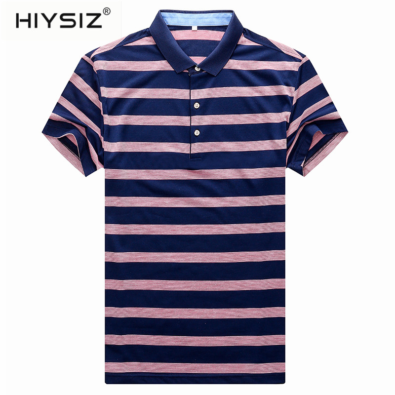 HIYSIZ NEW Men T Shirt 2019 Streetwear Striped Casual Summer Selection of New Good Turn down Collar New Fashion Pullover ST209 in T Shirts from Men 39 s Clothing