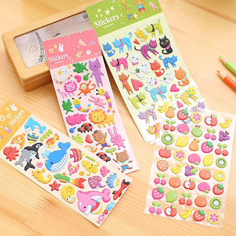 New Cute Cartoon Animal Fruit Prints Stickers Kids Diary Decoration 3D PVC Korea Stationery Kindergarten Baby Gift Children Toys