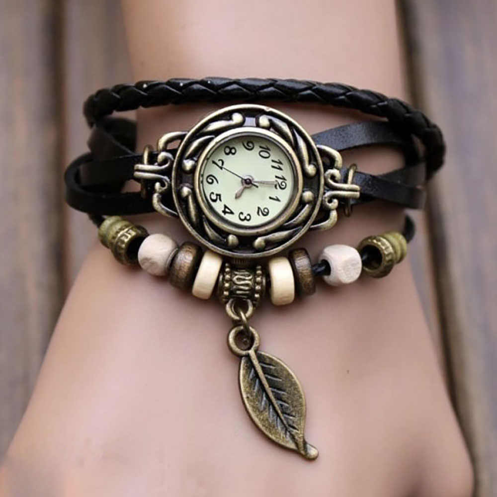 Weave Wrap Quartz Leather Leaf Beads Wrist Watches Clock   Fashion Vintage Womens Bracelet Wristwatch Relojes Mujer