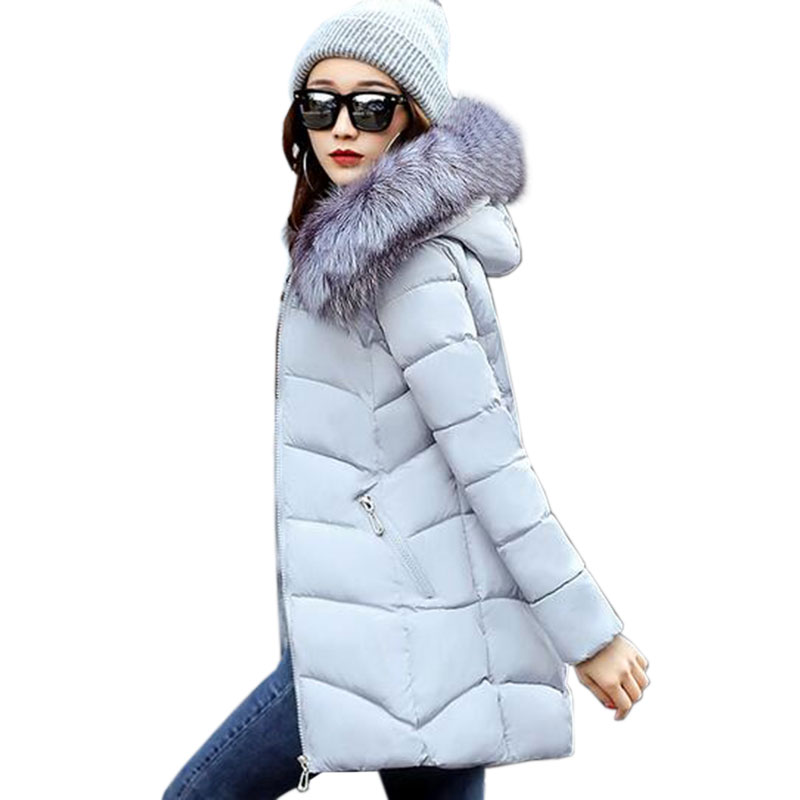 New Winter Jacket Women Slim Thick Warm Stylish Jacket Coats Lady With Fur collor Hooded High Quality cotton Jackets QH0485 high end winter women jacket warm hooded coats 2018 new thick fox fur collar slim long coats casual cotton leather jackets 5xl