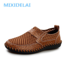 MIXIDELAI Genuine Leather Summer Breathable Soft Male Mesh Shoes For Men Adult Walking Casual Quality Light Net Footwear 2019