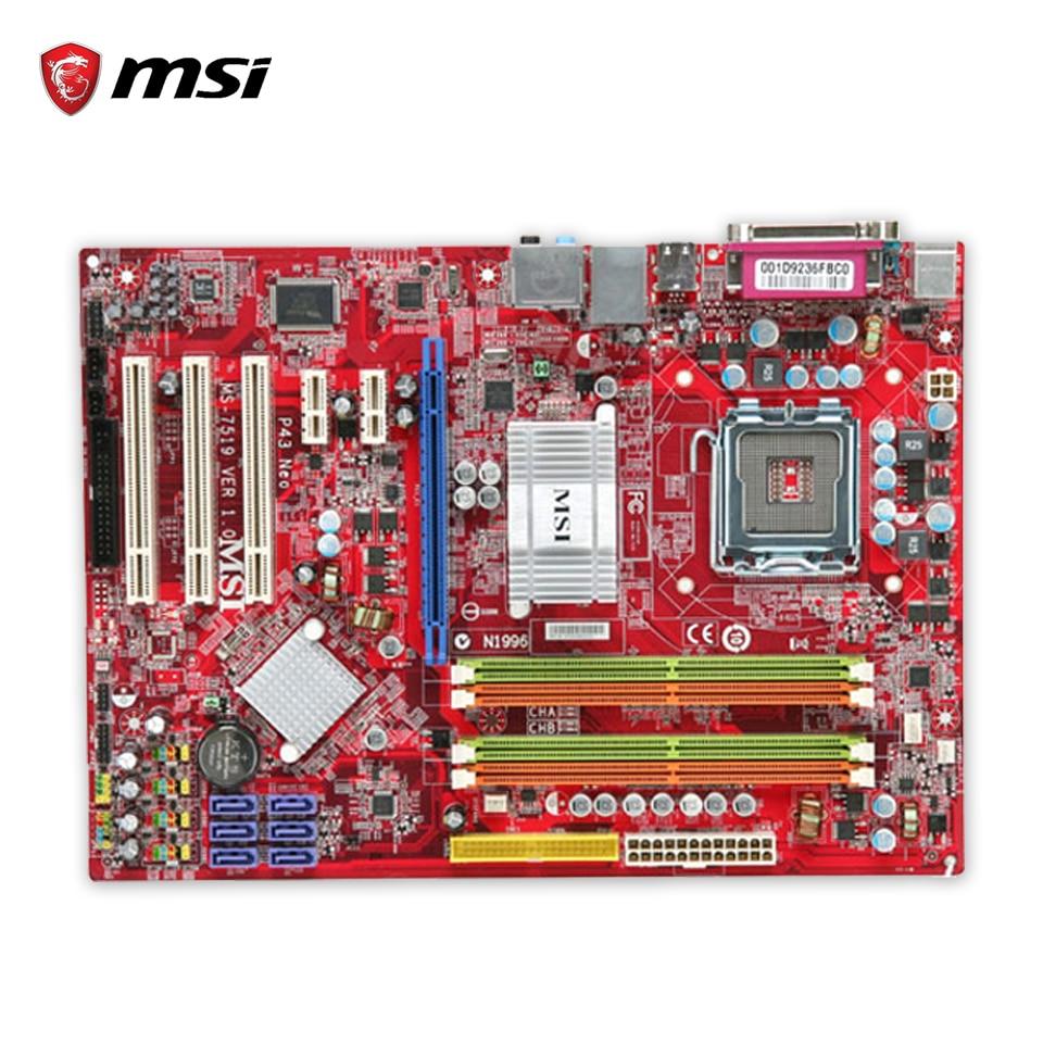 MSI P43 Neo-FS Original Used Desktop Motherboard P43 Socket LGA 775 DDR2 16G SATA2 USB2.0  ATX fs v21rp original